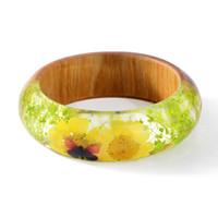pulsera de flores secas al por mayor-2018 nuevo diseño pulsera brazalete de la resina de madera del encanto con el Real brazalete de flores secas para la joyería hecha a mano de las mujeres