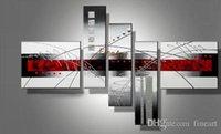 modern soyut siyah yağlıboya tablolar toptan satış-Diacount kırmızı siyah beyaz soyut sanat 5 parça duvar sanatı el boyalı yağlıboya modern soyut tuval sanat yağlıboya ev dekorasyon