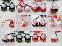 Wholesale cat phone bell charms for sale - Group buy and retail color Fortune Cat Cell Phone Charm colour Strap Keychains Mixed Small Bell Charm