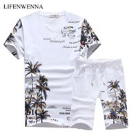 Wholesale coconut t - Fashion Summer Short Sets Men Casual Coconut Island Printing Suits for Men Chinese Style Suit Sets T Shirt Pants Designer Tracksuit