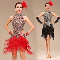 vestido azul con flecos latinos al por mayor-Blanco Azul Violeta Rojo Negro Concurso de baile Tango Salsa Vestidos de rendimiento Ropa Mujer Fringe Latin Salsa Vestidos