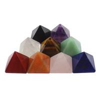 handwerk machen schmuck großhandel-Natürliche Kristall Mini Pyramide Tabletop Stein Kunst Handwerk Geschenke Haus Ornament Perlen Schmuck machen Lieferungen Trigonometrische Kegel Typ 12 35ft bb