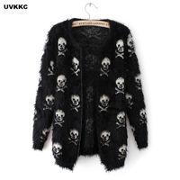 Wholesale Long Mohair Cardigan - UVKKC Women Cardigans Sweater Skull Pattern Female Mohair Knitted Cardigans Black White Autumn Sweater For Women
