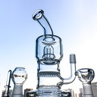 Wholesale Pipes Drums - 7.8 inch Mini Glass Bong With Showerhead Perc Drum Perc Honeycomb Perc Double Chamber Water Pipe Portable Herb Bongs WP161