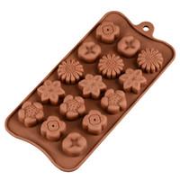 moules de chocolat de fleur de silicone achat en gros de-Moules à chocolat en forme de fleur en silicone Accueil Cuisson Haute température DIY Moule Outil Outils de cuisson de cuisine