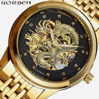 китайские механические часы оптовых-Carved Dragon Skeleton Automatic Watches Mens Gold Silver Male Mechanical Clock Luminous Chinese Wrist Watch Top