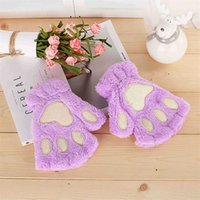 Wholesale lovely gloves - Mitten Deformity Winter Lovely Cartoon Cat Paw Shape Thick Half Finger Glove With Villus Keep Warm Mixer High Quality 4 9hl Y Z