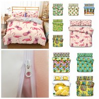 Wholesale bedding sets pieces online - 10styles Flaming painapple printed Kids Bedding Set Duvet Cover Quilt Cover Pillowcase Bedding Supplies set FFA682