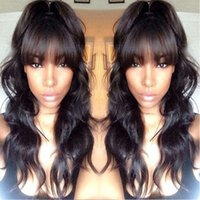Wholesale brown hair fringe resale online - 7A Full Lace Human Hair Wigs With Bangs Malaysian Virgin Hair Full Fringe Wig Human Hair Glueless Lace Wigs For Black Women