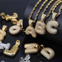 Wholesale zircon pendant necklace - Hip Hop Iced Out Costom Bubbl A-Z Letters Pendant Necklace Micro Pave AAA+Zircon with Rope Chian and Tennis Chain DIY Jewelry