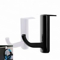 ganchos de pared blanca al por mayor-Soporte creativo para auriculares Práctico plástico Wall PC Monitor Hooks Long Service Life Soporte para auriculares Stands Black White 1 3jq BB