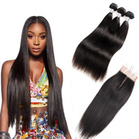 Wholesale 7A Brazilian Straight Virgin Hair Bundles With Lace Closure Unprocessed Peruvian Natural Black Human Hair Extensions Weave With Closure