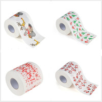 Wholesale toilet paper print - Merry Christmas Toilet Paper Creative Printing Pattern Series Roll Of Papers Fashion Funny Novelty Gift Eco Friendly Portable 3ms jj