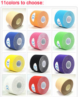 Wholesale Elastic Support - NEW 2.5cm x 5m FiveSize Kinesiology Kinesio Roll tapes Cotton Elastic Adhesive Muscle Sports Tape Bandage Physio Strain Injury Support MK216