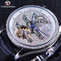 relógios mens tourbillion venda por atacado-Forsining 2017 Design de Couro Genuíno Diamante de Exibição Azul Mãos Tourbillion Mens Relógios Automáticos À Prova D Água Top Marca de Luxo