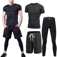 Wholesale Workout Clothes For Men - Wholesale- 3pcs set Men Sports Tracksuit Running Fitness Gym Clothing Set Quick Dry Compression Basketball Jerseys for Men's Workout