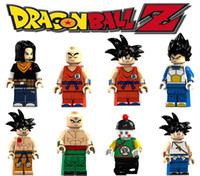 bina bilardo oyuncakları toptan satış-Mini Dragon Ball Rakamlar blokları Goku Krillin Gohan Android Vegeta Tien Shinhan süper kahraman yapı taşları çocuk oyuncak hediyeler