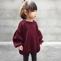 niñas ropa casual al por mayor-Girls Lantern Sleeves Tops Otoño 2018 Kids Boutique Clothing Euro America Hot Sale Little Girls Color sólido Loose Casual Tops