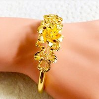 Wholesale chinese gold filled resale online - Old Fashioned Hollow Golden Fllower Bangle Women K Yellow Gold Filled Bracelet Elegant Wedding Chinese Jewelry Party Gift