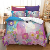 Wholesale super king sized bedding for sale - Cartoon Cute Unicorn Bedding Set Digital printing Duvet Cover Set Pillowcases Twin Full Queen Super king Size Customizable