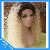 Wholesale kinky curl hair ombre online - Fashion Ombre Blonde Afro Kinky Curly Synthetic Lace Front Wig Glueless Natural Black Blonde Heat Resistant Hair Woman Curl Wigs BT613