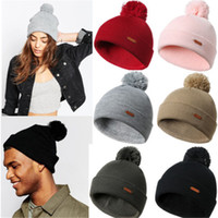Wholesale oversized beanie cap resale online - New Fashion Women Beanie Hats Warm Winter Ladies Knitted Wooly Oversized Slouch Hat Solid Pompom Bobble Knitting Wool Hat
