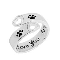 pegadas anéis venda por atacado-Eu vou te amar para sempre anel cão pata coração anel de ouro prata cão pegadas anéis jóias para presente quente