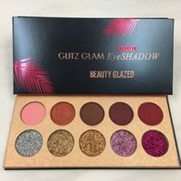Wholesale matte sequins - Beauty Glazed Glitter Matte Eyeshadow Palette 10 Colors Makeup Brand Cosmetics Glitz Glam Sequins Shimmer Eye Shadow Palette Highlighter