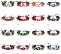 seil armband benutzerdefinierten charme großhandel-Leder Seil Armbänder Tennessee Volunteers Ohio State Buckeyes Hochrot Gezeiten Auburn Florida Georgia Bracelets Custom