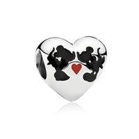 jóias acreditam venda por atacado-Acredite Coração Forma Charme Talão Big Hole Moda Feminina Jóias Estilo Europeu Para DIY Pulseira Colar