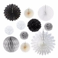 Wholesale Christmas Decoration Wholesale Suppliers - Sunbeauty 11pcs set Black and White Theme Party Decorations Home Furnishing Birthday Mall layout Halloween Christmas Supplier