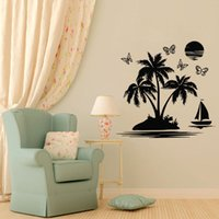 duvar ağacı kelebek toptan satış-Bir Tekne Kelebekler Palm Tree Duvar Çıkartmaları Ev Dekorasyon Aksesuarları Deniz Yan Duvar Üzerinde Yapıştırıcı Sticker