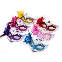 Wholesale lady masks for sale - Halloween Mask Performing Props Lady Half Face Masks Spray Paint Gold Powder Feather Masquerade Add Flowers tn jj