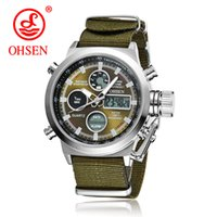 Wholesale men sports ohsen brand watches - Hot Selling Original Famous Brand OHSEN Quartz Sports Men Watches Male Clock Nylon Band Fashion Casual Wristwatches For Men Gift