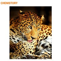 Wholesale modern abstract acrylic painting - CHENISTORY Frameless Picture DIY Painting By Numbers Leopard Animal Modern Wall Art Canvas Painting Acrylic Paint By Numbers Art