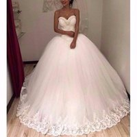Wholesale Beautiful Beaded Ball Gown - Beautiful Hand Made Flowers Beaded Bridal Wedding Dresses 2018 Ball Gowns Sweetheart Appliqued Sequined Long Bridal Gowns Robe de soriee
