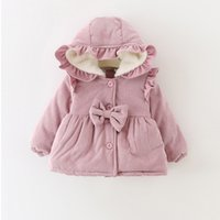 Wholesale Baby Ruffle Jacket - Warm Winter Baby Girls Infants Kids Snow Wear Ruffles Hooded Bow Princess Velvet Thicken Jacket Coat Parkas Outwear