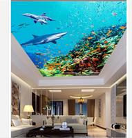 techo de pesca al por mayor-Personalizado Gran Techo Mural Wallpaper Océano tiburón vida peces dormitorio techo zenith mural Photo Mural Ceiling Wallpapers