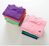 kleines mädchen sommert-shirt großhandel-Kinder Kinder Polo Shirts Solide T Kurzarm Studenten Sommer Schuluniformen Große Teenager Jungen Kleine Mädchen Baumwolle Revers Tops