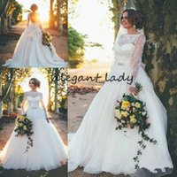 Wholesale long skirts big bows resale online - Backless Big Bow Wedding Dresses with Long Sleeve Jewel Neck Plus Size Full Lace Fairy Country Garden Farm Bridal Wedding Gown