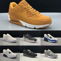 Wholesale tennis shoes free shipping resale online - 90 Men Women Running Shoes Core Triple Black White Wheat Red Grey Oreo Blue Cheap Casual Sport Sneaker Size
