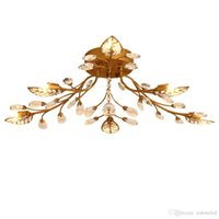 Wholesale light fluorescent ceiling flush for sale - Iron crystal ceiling chandeliers E14 K9 crystal ceiling lamp black Bronze ceiling chandeliers home decor American country style lighting fix