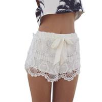 Wholesale hot girls s online - 2018 Summer Beach Shorts Women Girl Lace Print Hem Crochet Chiffon Belt Shorts Plus Size S L Hot Sale