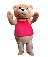 kahverengi takım elbise toptan satış-Yetişkin profesyonel Özelleştirmek Kahverengi teddy bear maskot kostümleri Karakter noel cadılar bayramı kafası doğum günü partisi suit