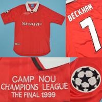 ingrosso jersey beckham-camp nou 1999 UCL final winner home maglie retrò rugby maglie beckham Giggs yorke cole Solskjaer Sheringham Scholes Neville Stam