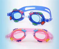 lindo anillo de natación al por mayor-Lindos niños de dibujos animados gafas antiniebla para niños niños niñas gafas de natación deportes acuáticos bebé gafas espejo de silicona anillo 6bj Y