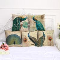 tavuskuşu davaları toptan satış-45 cm * 45 cm Tavus Kuşu Yastık Kılıfı Vintage Yastık Kapak Pamuk Keten Meydanı Yastık Oturma Odası Kanepe Dekoratif Yastık Kılıfı