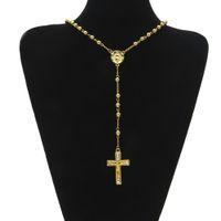 ingrosso branelli rosari rotondi-Collana in oro con rosario Religione perline Collana con croce in oro con crocifisso Gesù Croce Collana con croce Vergine Maria