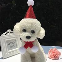 conjunto de terno do cão venda por atacado-Moda Pet Hat Natal + Cachecol 2 Peça Terno Traje Do Cão Set Xmas Feriado Terno Decoração de Natal Para Cães Gatos Pet Apparel