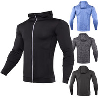 Wholesale Grey Men Long Coat - Mens fitness running coats hoodies sports jackets training long sleeves zipper casual hoodies quick dry jackets Gym Clothing